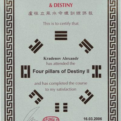 10 Certificate Alexander Kradenov Training Course Master Raymond Lo Four Pillars Of Destiny 2